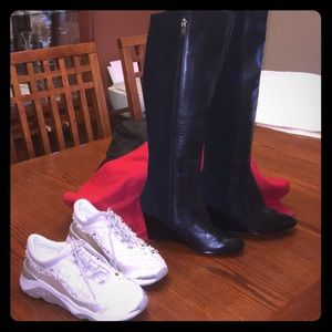 Marc Fisher black tall boots & ASN White sneakers